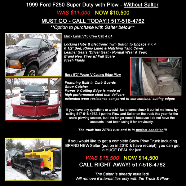Ford F250 Snow Plow with or without Salter For Sale!!